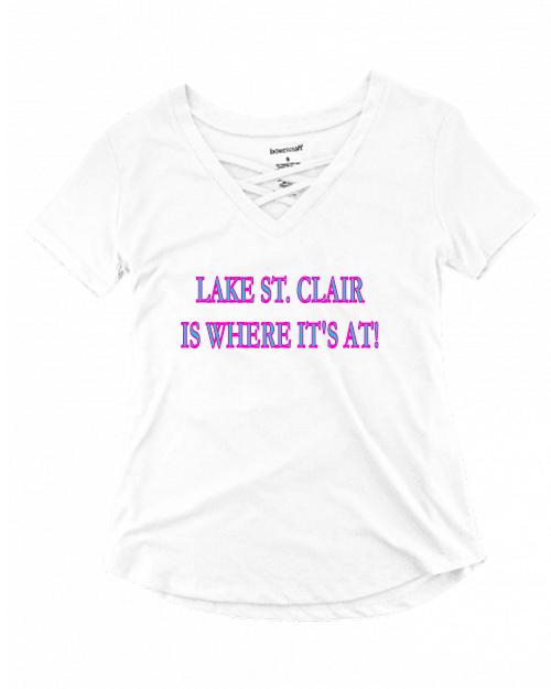 Criscross V-neck short sleeve t-shirt