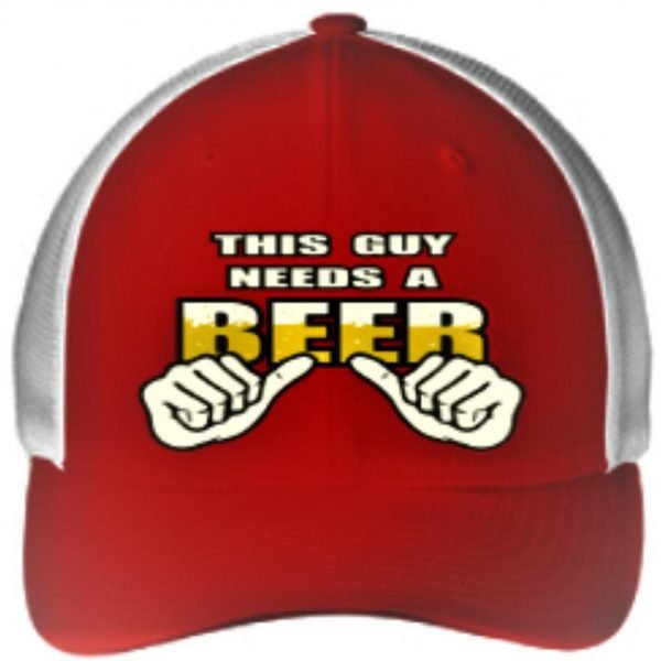 Mens Red White This Guy Needs a Beer Embroidery Ball Cap